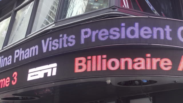 ABC News daily headlines show up digitally on Times Square in New York City NO