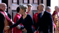 International clean feed 0930 1030 INT Cameron along with wife Samantha along /general views of Royals arriving and shaking hands with clergy...