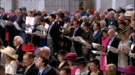 International clean feed 1030 1130 **Choral music over following** Various of congregation singing hymn including close shots of Princess Anne and...