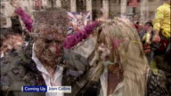 1100 1200 John and Frances Canning interview SOT Crowds in Trafalgar Square Trafalgar Square / STUDIO