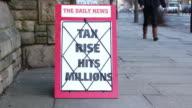 News Headline Board - Tax Rise Hit's Millions