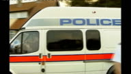 'News of the World' phone hacking scandal grows 2002 Cambridgeshire Soham EXT Police van and police outside home of Ian Huntley following his arrest...