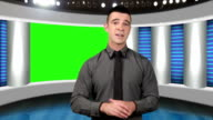 TV news presenter with green screen as background