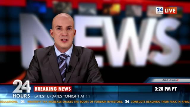 HD: Newscaster Reading World Report News