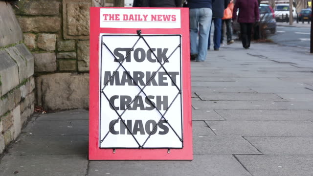 Newspaper headline board - Stock market crash chaos