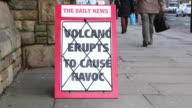Newspaper headline Board - Volcano eruption