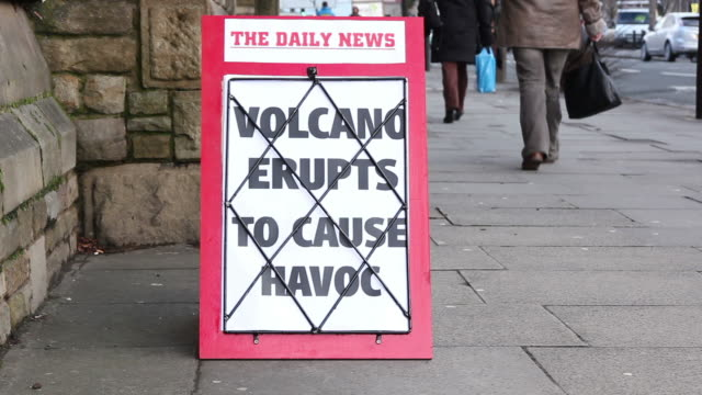 Newspaper headline Board - Volcano eruption