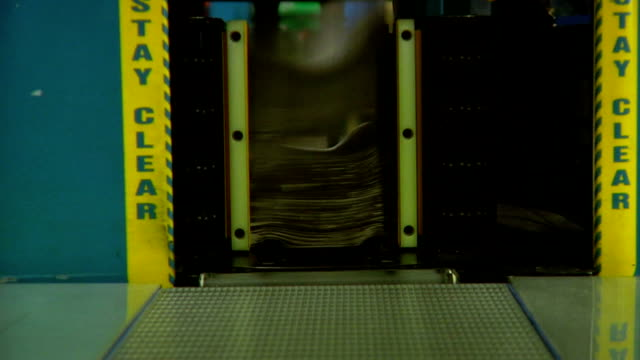 NewsPapers Stacked Inside Printing Press  LOOP