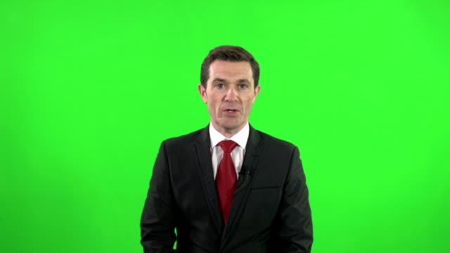 Newsreader or News TV reporter on Green Screen