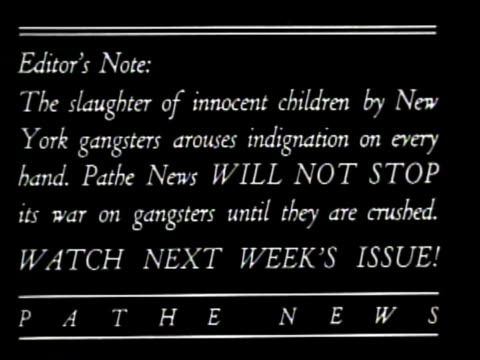 Newsreel / No Audio / Pathe News / After five are killed by gang shootings in New York city an Act is created to federally regulate the sales of...