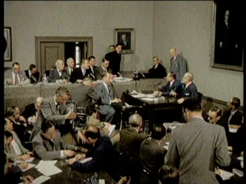 Newsreel / No Audio / Senator Kefauver Probes Organized Crime in 1950 / Footage at a Senate Committee hearing with Senator Kefauver and others /...