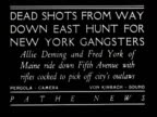 DEAD SHOTS FROM WAY DOWN EAST HUNT FOR NEW YORK GANGSTERS Allie Deming and Fred York of Maine ride down Fifth Avenue with rifles cocked to pick off...
