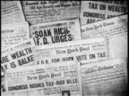 Soak The Rich / Wall of Newspaper Headlines About Economics /