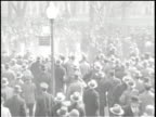 TEAR GAS BOMB IS SET OFF BY THE POLICE / Jobless protesters are tear gassed in front of the White house in Washington DC in 1930 / Gas Canister...