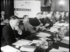 Newsreel / Senate Armed Services Committee meets in Washington DC to decide on a universal military training program / Secretary of Defense Louis A...
