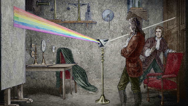 Newton's optics. Coloured historical artwork of the English physicist and mathematician Isaac Newton (1642-1727) conducting his famous experiment on light.