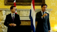 Nick Clegg and Dutch Prime Minister press conference Mark Rutte press conference SOT Issues of the internal market shouldn't only be dicussed by 17...