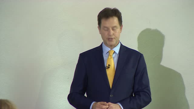Nick Clegg announces his resignation from the Liberal Democrats Shows interior shot Nick Clegg finishing resignation speech receiving applause from...