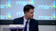 Nick Clegg comments on cost of replacing Trident nuclear weapon ENGLAND London Microsoft HQ INT Nick Clegg MP speaking at Question Answer Session SOT...