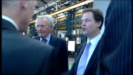 tour of engineering factory More of Nick Clegg touring factory floor accompanied in some shots by Lord Heseltine/ Nick Clegg and Lord Heseltine...