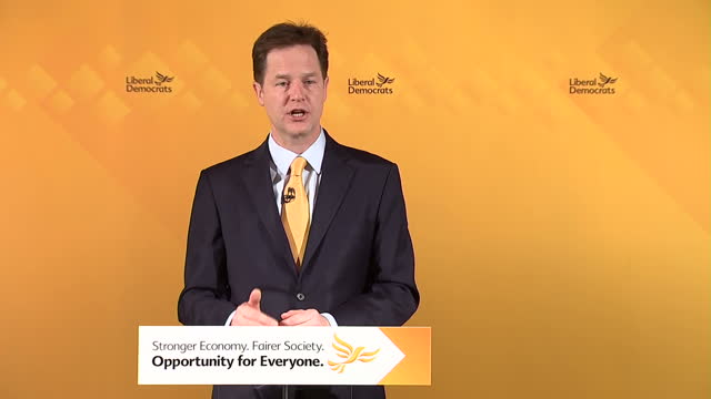 Nick Clegg gives speech at the National Liberal Club Shows interior shot Nick Clegg introducing the stability budget and giving the details as to...