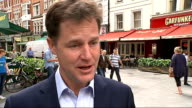 London EXT Nick Clegg MP leaving Global Radio station office Nick Clegg MP interview SOT Re Bedroom tax proposed reforms