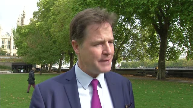 London Westminster EXT Nick Clegg interview SOT re Brexit negotiations