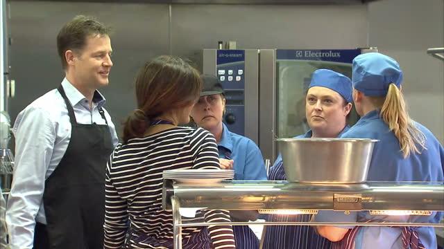 Nick Clegg Miriam Durantez visit Ivy Lane School in Chippenham Shows interior shots Nick Clegg Miriam Durantez Duncan Hames in school kitchen on...