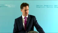 Nick Clegg monthly press conference Clegg answering questions SOT On wage growth possibly overtaking inflation / 2008 financial crisis / lost wealth...