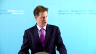 Nick Clegg monthly press conference ENGLAND London INT Nick Clegg MP press conference SOT Labour party failing to take any responsibility for the...