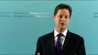 Nick Clegg monthly press conference ENGLAND London Westminster INT Nick Clegg MP along to podium and speech SOT This is a big week for the government...