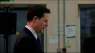 Nick Clegg speaks on community relations and dealing with extremism ENGLAND Luton INT Nick Clegg MP into room and to podium Nick Clegg MP speech SOT...