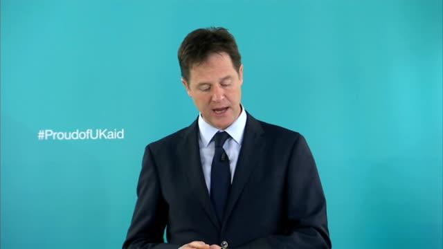 Nick Clegg speech on international development ENGLAND London Shoreditch INT Nick Clegg MP speech SOT **Speech transcript please check against...
