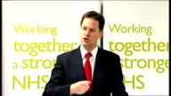 Nick Clegg speech on NHS reforms Clegg speech SOT peace of mind The comfort of knowing that the NHS will always be there for you If you''re in an...