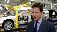 Nick Clegg visits Bentley Motors factory in Crewe ENGLAND Cheshire Crewe Bentley Motors INT Nick Clegg MP interview SOT On Regional Growth Fund and...