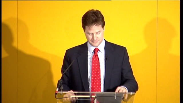 Nick Clegg wins leadership of Liberal Democrat Party Press conference Nick Clegg MP speech SOT My election as leader of this party marks a new...