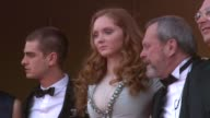 Nicola Percorini model Lily Cole director Terry Gilliam actor Andrew Garfield actor Verne Troyer at the Cannes Film Festival 2009 The Imaginarium of...