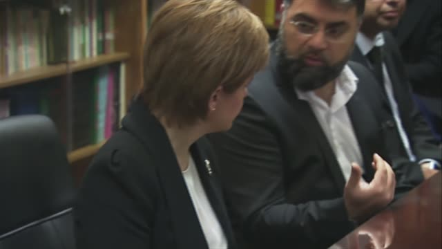 Nicola Sturgeon and Glasgow silences SCOTLAND Glasgow Glasgow Central Mosque INT Nicola Sturgeon MSP enters with others / Nicola Sturgeon at round...