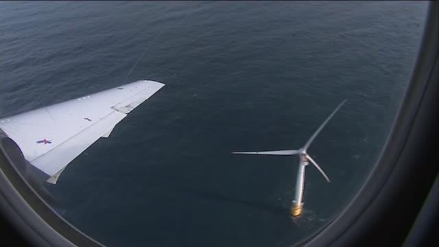 Nicola Sturgeon opens world's first floating wind farm SCOTLAND / AT Nicola Sturgeon MSP in plane Floating wind farm seen from plane window