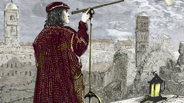 Nicolaus Copernicus (1473-1543) observing a lunar eclipse in Rome in 1500, coloured historical artwork.