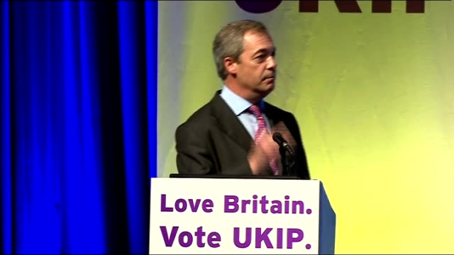 Nigel Farage speech at UKIP Spring Conference **CHECK AGAINST DELIVERY not full transcript ** Nigel Farage conference speech SOT Welcome reminds me...