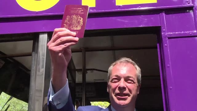 Nigel Farage the leader of the anti immigration UK Independence Party launches a referendum tour aboard a double decker bus near the Houses of...