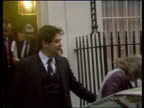 Nigel Lawson gives Autumn Statement a London 11 Downing Street MS Nigel Lawson Chancellor of the Exchequer standing outside No 11 Downing Street CAS...