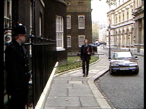 Nigel Lawson gives Autumn Statement LMS Michael Heseltine Defence Secretary walks up to No 10 Downing Street
