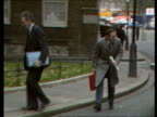 Nigel Lawson gives Autumn Statement LMS Norman Fowler Social Services Secretary from car walking to No 10