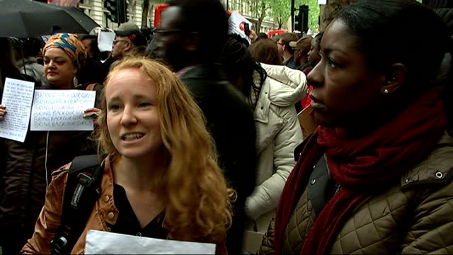 Demonstration outside Nigerian Embassy Dion Terrelonge and Verity Alexis interview SOT Placard 'Boko Haram = Religious Terrorism' David Lamy MP...
