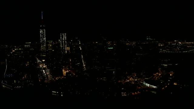 Night Aerial of New York City Manhattan USA