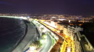 Night Aerial Skyline in Nice, France.