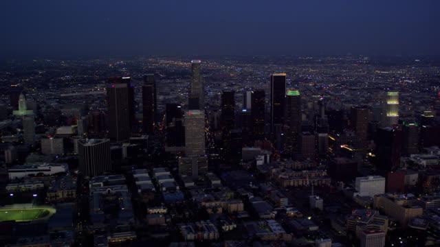 night aerial view of Downtown Los Angeles (DTLA) looking east, RED R3D 4K