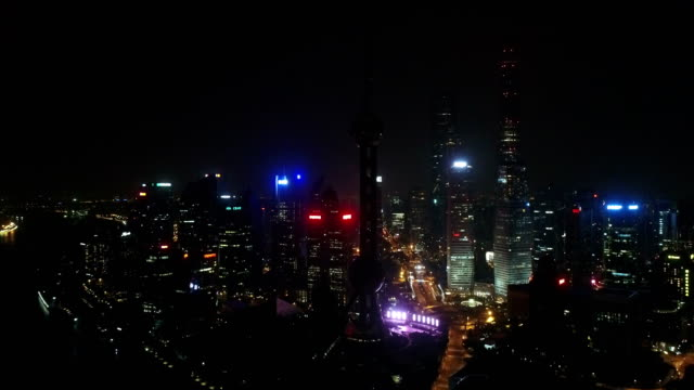 night aerial view of Shanghai city,shot by drone